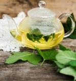 Teapot de vidro com chá erval Fotografia de Stock Royalty Free