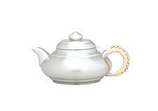 Teapot decorated handle with weaved bamboo Royalty Free Stock Photo
