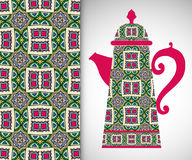 Teapot with decorative ornament and seamless pattern Stock Photography
