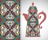 Teapot with decorative ornament and vertical. Seamless pattern, hand drawn texture for Invitations or Cards Stock Photography