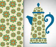 Teapot with decorative ornament and vertical. Seamless pattern, hand drawn texture for Invitations or Cards Stock Photos