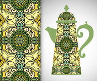 Teapot with decorative ornament and vertical. Seamless pattern, hand drawn texture for Invitations or Cards Royalty Free Stock Images