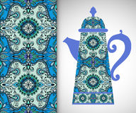 Teapot with decorative ornament and vertical. Seamless pattern, hand drawn texture for Invitations or Cards Royalty Free Stock Image