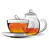 Teapot do desenho e copo do chá Foto de Stock