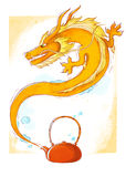 Teapot Dragon. Cheeky orange dragon living in the teapot Stock Photos