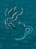 Teapot drawing on blackboard Stock Images