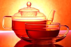 Teapot e copo Imagens de Stock