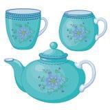 Teapot e copos Fotos de Stock