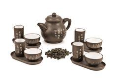 Teapot e copos para a cerimónia de chá Fotos de Stock