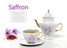 Teapot e teacup com aç6frão ilustração do vetor