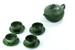Teapot e teacups cerâmicos Foto de Stock