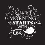 Teapot and english text, decorative background. Good morning starts with tea stock illustration