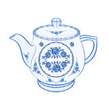Teapot faience part of porcelain vector Stock Photography