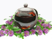 Teapot with floral tea Royalty Free Stock Image