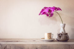 Teapot and flower, home decoration concept. Stock Photography