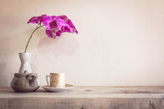 Teapot and flower, home decoration concept Stock Photography