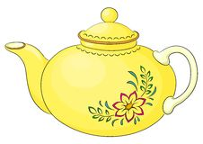 Teapot with flower pattern. China yellow teapot with a pattern from a red flower and green leaves Stock Photos