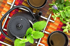Teapot with fresh herbs Stock Images
