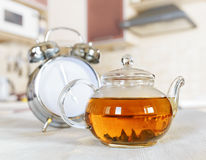 Teapot of fresh tea in a kitchen Stock Photos