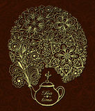 Teapot with goldenl floral smoke Stock Images