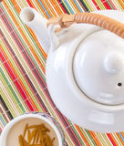 Teapot and green tea Royalty Free Stock Photography
