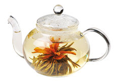 Teapot with green tea Royalty Free Stock Image