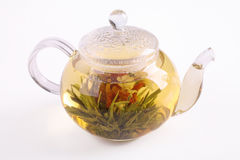 Teapot with green tea Royalty Free Stock Photos