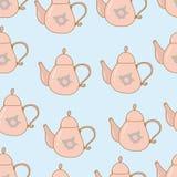Teapot hand drawn seamless pattern shabby chic. Pastel Stock Photo