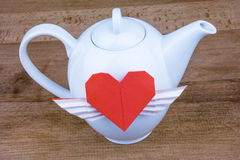 Teapot with hearts. Love tea. Royalty Free Stock Image