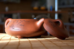 Teapot with hieroglyph Stock Image