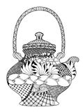 Teapot, highly detailed illustration in zentangle Royalty Free Stock Photo