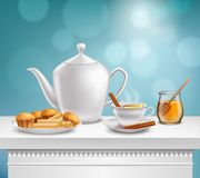 Teapot Honey Jar Realistic Set Stock Photography