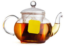 Teapot of hot black tea Royalty Free Stock Images