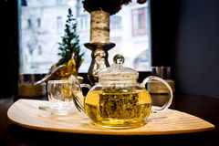 Teapot of hot green tea Stock Photography