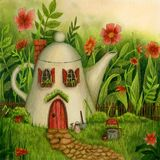 Teapot house in the forest with flowers and well.