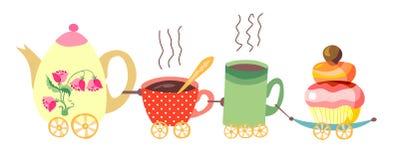Teapot i filiżanka pociąg Zdjęcia Royalty Free