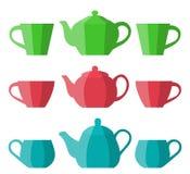 Teapot i filiżanka w płaskim projekcie przygotowywa ikonę Zdjęcia Royalty Free