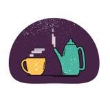 Teapot i filiżanki ikona Fotografia Royalty Free