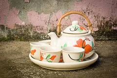 Teapot i teacups Obrazy Stock