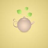 Teapot i zieleni liście Obrazy Stock