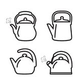 Teapot icon. Set of kettle icons in line design style. Teapot icon. Set of vector kettle icons in line design style Royalty Free Stock Photography