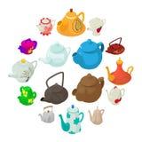 Teapot icons set, isometric style. Royalty Free Stock Photos