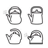 Teapot ikona Set czajnik ikony w kreskowym projekta stylu royalty ilustracja