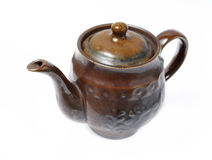Teapot isolated. Brown teapot isolated over white Stock Photo