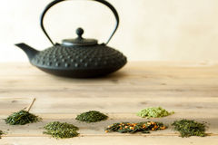 Teapot and Japanese tea sorts Stock Photo