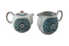 Teapot and jug with traditional blue ornament Stock Photos