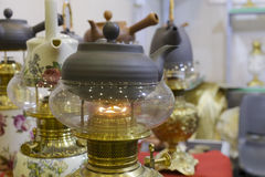 Teapot on the kerosene stove Stock Photos
