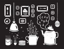 Teapot Lamp Vase Kitchen Still Life Art Frames on Royalty Free Stock Image