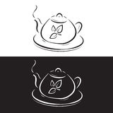 Teapot with leaves symbol Royalty Free Stock Photo