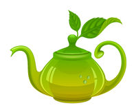 Teapot with leaves Royalty Free Stock Photo